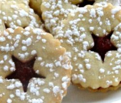 Cranberry Cornmeal Linzer Cookies